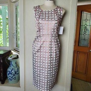 En Focus Studio Metallic Pink Check Sheath Dress 4